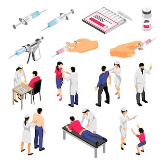 Ludzkie postacie podczas szczepień i strzykawki z produktami medycznymi zestaw ikon izometryczny na białym tle