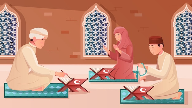 Ludzkie postacie uczące się koranu na kolanach płaskiej ilustracji