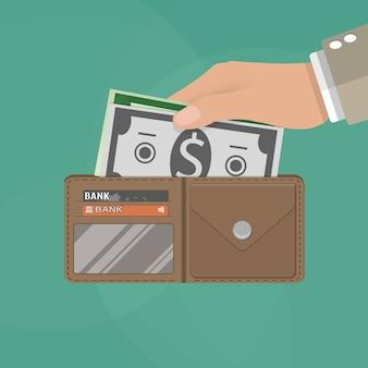 Ludzkie ręce trzyma otwarty portfel