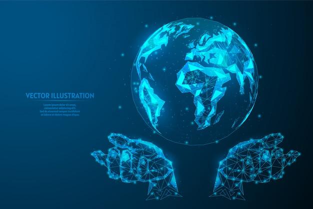 Ludzkie ręce trzymają planetę ziemię w zerowej grawitacji. zamyka up kula ziemska. pojęcie ekologii, globalny internet, komunikacja, biznes. innowacyjna technologia. 3d wireframe low poly ilustracja.