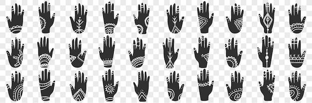 Ludzkie ręce z okultystycznymi znakami doodle zestaw