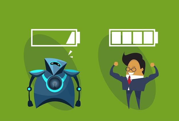 Ludzkie roboty vs nowoczesny robot i człowiek biznesu z ikoną baterii znaki