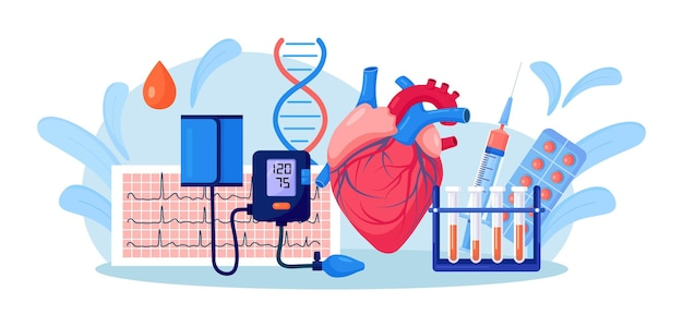 Ludzkie serce z ciśnieniomierzem, ekg kardiogram, probówka krwi, leki. badanie lekarskie, pomiar wysokiego ciśnienia krwi. diagnostyka chorób układu krążenia. nadciśnienie, niedociśnienie