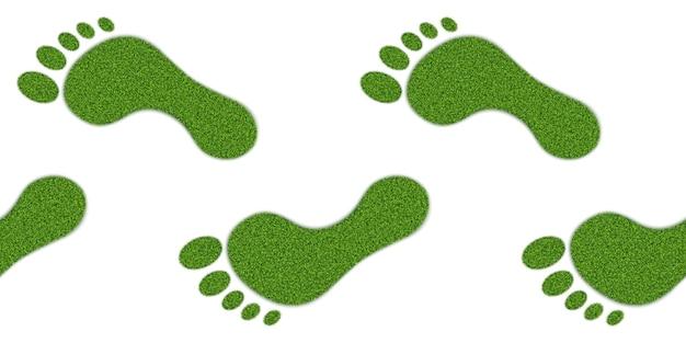 Ludzkie ślady z teksturą trawy, poziomy wzór.