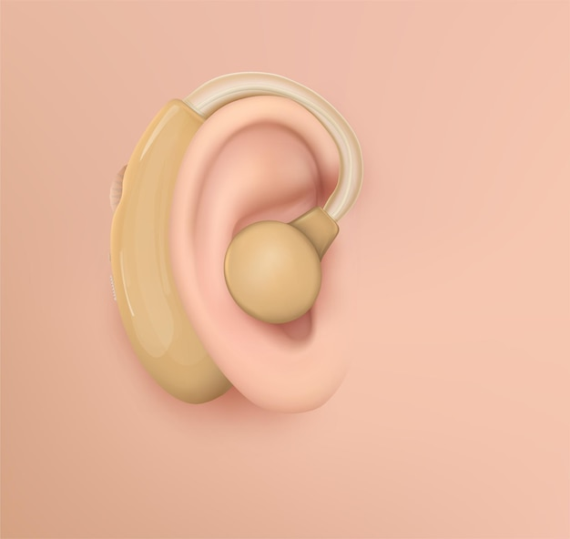 Ludzkie Ucho. Leczenie Słuchu, Chirurgia Plastyczna, Implantacja Premium Wektorów
