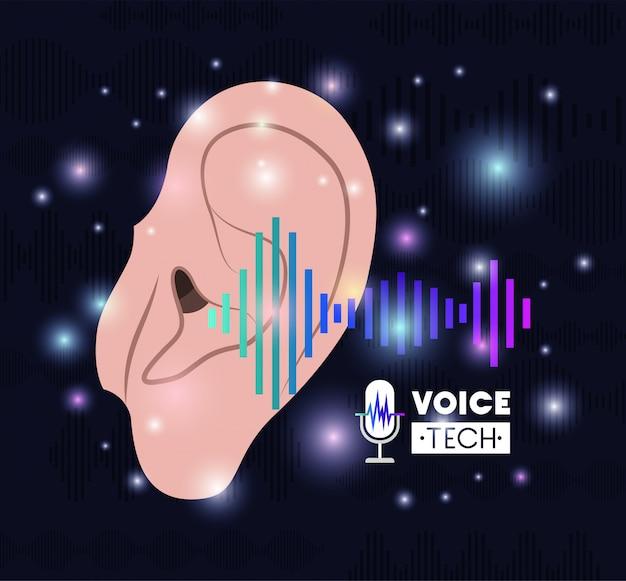 Ludzkie Ucho Z Technologią Rozpoznawania Głosu Premium Wektorów