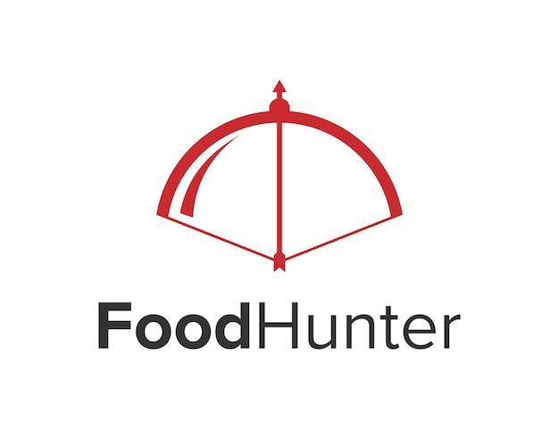 Łuk i strzała z ruchomą osłoną na żywność prosta, elegancka, kreatywna, geometryczna, nowoczesna konstrukcja logo