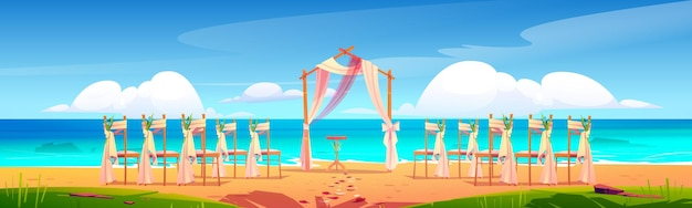 Łuk ślubny na plaży i dekoracja na nadmorskiej ilustracji kreskówki.