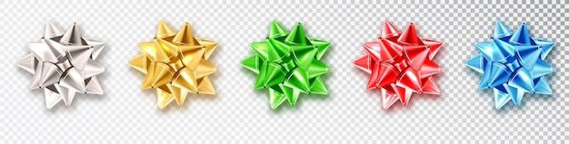 Łuki z cieniem. realistyczne kokardki kolor na przezroczystym tle. realistyczna dekoracja wektorowa na wakacje. świąteczna dekoracja na prezenty.