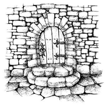 Łukowate drzwi w kamiennej ścianie, zadrapanie