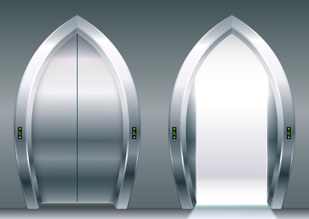 Łukowate drzwi windy