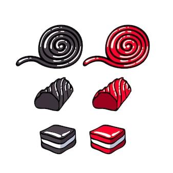 Lukrecja cukierki zestaw ilustracji wektorowych