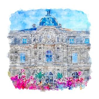Luksemburg niemcy szkic akwarela ręcznie rysowane ilustracja