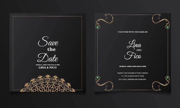 Luksus zapisz zestaw kart zaproszenie na ślub