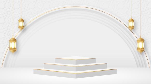 Luksusowa arabska islamska scena podium z arabskim wzorem i tradycyjną islamską latarnią