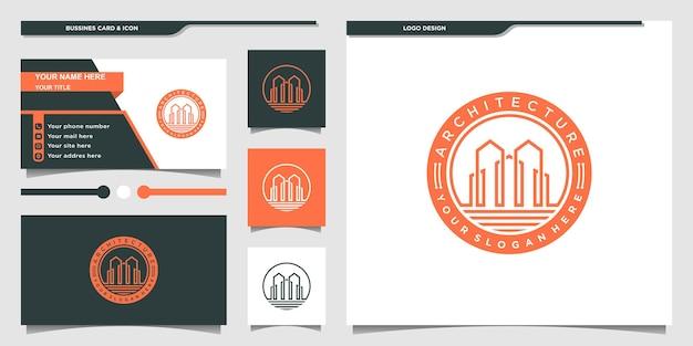 Luksusowa architektura logo z nowoczesnym stylem linii godła i projektem wizytówki premium vecto