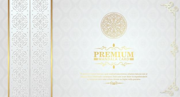 Luksusowa biała mandala z ozdobnymi ramkami