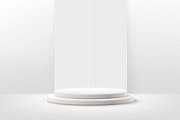 Luksusowa biało-złota scena do nagród w nowoczesnym z szarym tle geometrycznym.