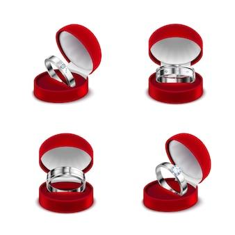 Luksusowa biżuteria 4 srebrne pierścionki zaręczynowe z diamentami w otwartych czerwonych pudełkach realistyczne zestaw ilustracji