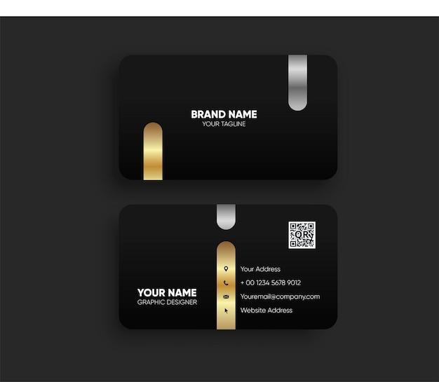 Luksusowa ciemna wizytówka złoto srebro premium wektor