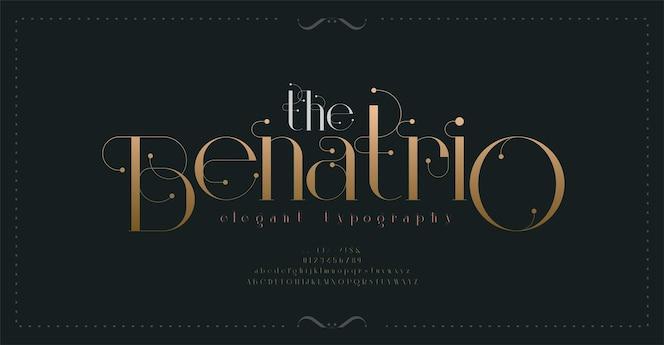 Luksusowa czcionka w stylu vintage litery alfabetu i typografia cyfr elegancka klasyczna czcionka szeryfowa w stylu retro