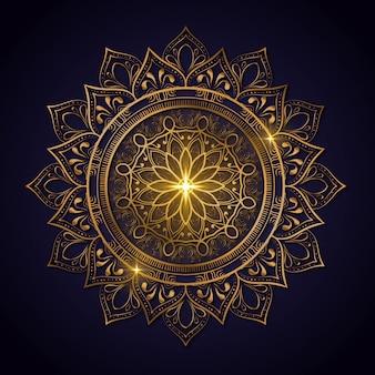 Luksusowa dekoracja kwiatów mandali w błyszczącym złotym kolorze. szablon jogi. relaks, islamski, arabeski, indyjski, indyk.