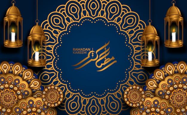 Luksusowa geometryczna dekoracja ornamentu mandali ze wiszącą złotą latarnią arabską 3d, czerwonymi fanoosami z niebieskim tłem i kaligrafią dla kareem ramadan