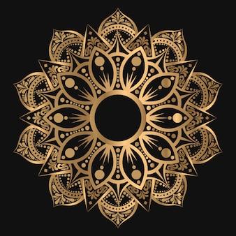 Luksusowa geometryczna mandala w złotym kolorze wschodnim