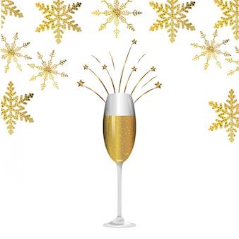 Luksusowa i elegancka kreskówka kieliszek do szampana i płatki śniegu