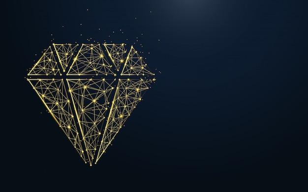 Luksusowa ikona diamentu z linii i cząstek
