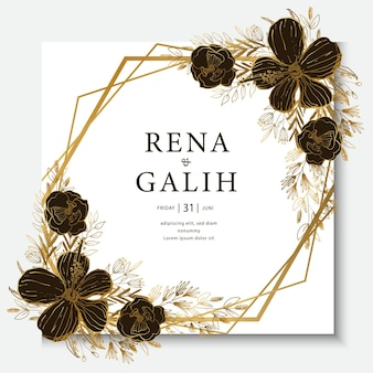 Luksusowa karta ślubna linia sztuki kwiatowy złota linia