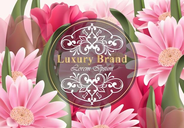 Luksusowa karta z stokrotka kwiatami. piękna ilustracja dla książki marki, wizytówki lub plakat. rosnące kwiaty w tle. miejsce na teksty