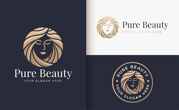Luksusowa kobieta salon fryzjerski złoty projekt logo gradientu