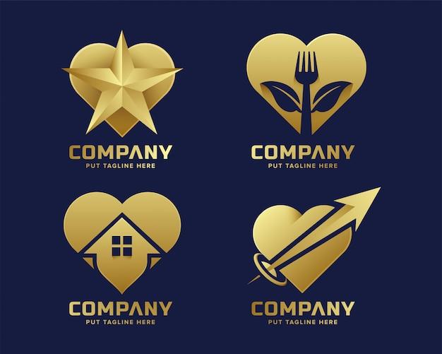 Luksusowa kolekcja premium logo złote serce miłości