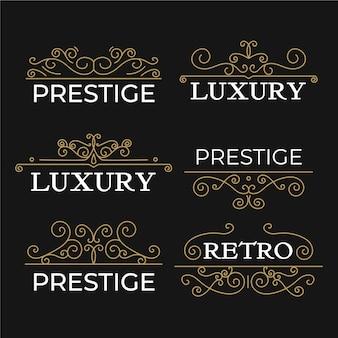 Luksusowa kolekcja szablonów rocznika logo