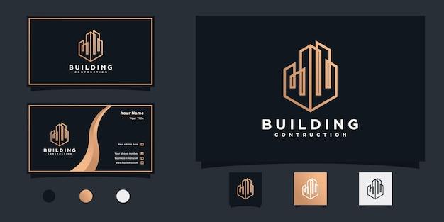 Luksusowa konstrukcja budynku inspiracja projektowania logo i projekt wizytówek premium wektorów