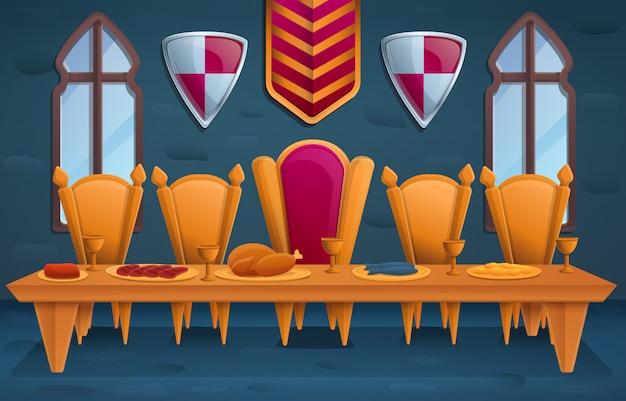 Luksusowa królewska uczta w tronowym pokoju, ilustracja