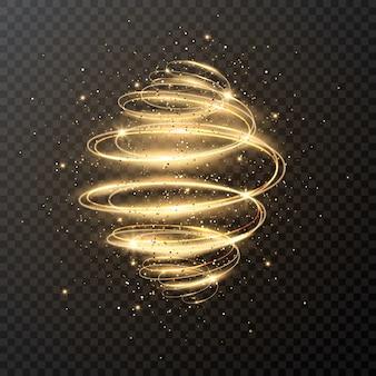 Luksusowa lekka spirala z brokatem i gwiazdkami. boże narodzenie . magiczny efekt szlaku wirowania na przezroczystym. świecący ruch prędkości.
