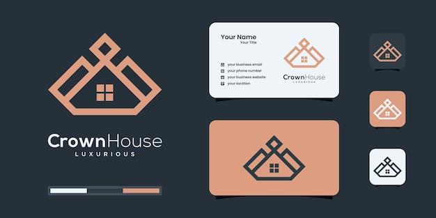Luksusowa linia domu dla nieruchomości, budownictwa, szablonów projektów logo budowy.