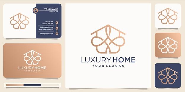 Luksusowa linia inspirowana stylem sztuki domowej minimalistyczny design. abstrakcyjny styl linii domu logo, firma ikona z projektu szablonu wektora wizytówki. wektor premium