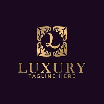 Luksusowa litera l z mandalą i złotym ozdobnym szablonem projektu dla branży spa i masażu