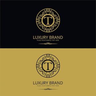 Luksusowa litera marki t logo