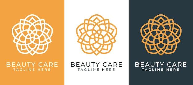 Luksusowa mandala i złoty ozdobny szablon projektu logo dla branży spa i masażu