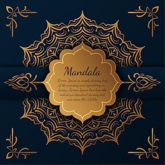 Luksusowa mandala ze złotym arabeskowym wzorem arabskiego stylu islamskiego mandala,,