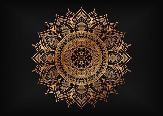 Luksusowa mandala ze złotymi arabeskowymi ornamentami