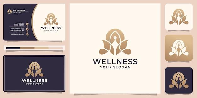 Luksusowa medytacja logo jogi z abstrakcyjnym logo natury i projektem wizytówek premium wektorów