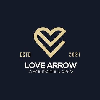 Luksusowa miłość strzałka logo ilustracja złoty styl złoty kolor dla firmy