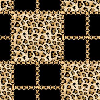 Luksusowa moda tkanina wzór ze złotymi łańcuchami i tło skóry lamparta. dzikie futro zwierząt i złota biżuteria tapeta do projektowania tekstyliów. ilustracja wektorowa