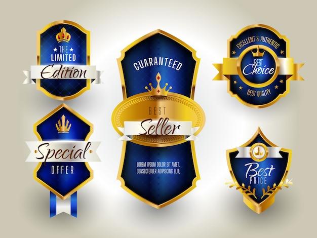 Luksusowa odznaka złota i niebieska