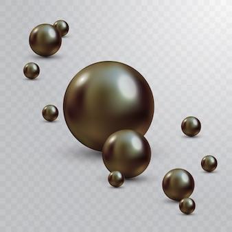 Luksusowa piękna błyszcząca biżuteria z czarnymi perłami. piękne błyszczące perły naturalne. z przezroczystymi odblaskami i pasemkami na grudzień
